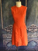 Vintage 1960's Orange Woven Shift Dress SMALL High Round Neck Pockets Carlye