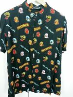Pac-man Mens Casual 80s Style Pac-Man Print Casual Shirt Large Retail$35