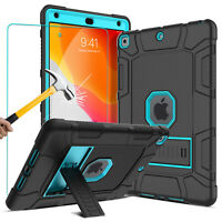For iPad 10.2 7th Generation Gen Hard Case Cover+Tempered Glass Screen Protector