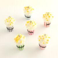 10pcs Colorful Popcorn Resin Pendants Mini Cute Dangle Charms Crafting 35x22mm