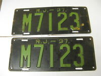1937 37 New Jersey NJ License Plate M7123 Pair