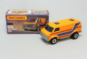 """Matchbox Lesney Superfast No68 CHEVY VAN with """" RARER RED+BLUE TAMPOS """" in K BOX"""
