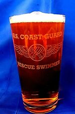 US Coast Guard Rescue Swimmer Wings 16oz custom etched Beer Glass set of 4