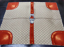 New Women's Authentic Gucci Signature Luggage Brown Orange Medium Silk Scarf