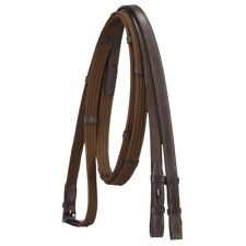 EquiRoyal Cotton Web Reins with Leather Hand Grips for Secure Hold Brown