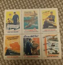 Sheet of 6 WWII Cinderella Poster Stamps Union Pacific Keep em Rolling