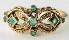 UNUSUAL 9CT 9K GOLD ALL COLOMBIAN EMERALD MASK ART DECO INS RING FREE RESIZE