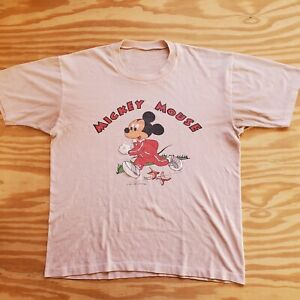 VINTAGE Disney T-Shirt Athletic MICKEY MOUSE Wearing Adidas 70s 80s Small/Medium