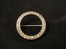 "Vintage STERLING SILVER Circle CLEAR Rhinestones PIN BROOCH Old ""C"" Clasp"