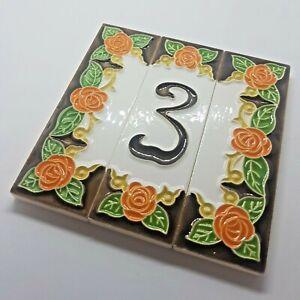 Italian 10cm x 3.4 cm Handmade Orange Rose Ceramic House Number Tiles and Frames