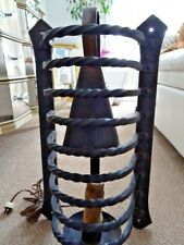 "antique CAST IRON WALL SCONCE salvaged GOTHIC medieval CAGED ARCHITECTURAL 21""H"