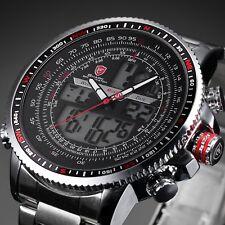 Shark Men's Digital Analog Quartz Day Date Alarm Stainless steel Wrist Watch