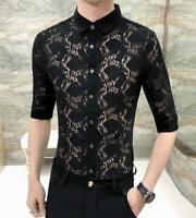 Men's Soft Lace Trendy Half Sleeve Shirt Button Front Slim Casual Tops SizeM-3XL
