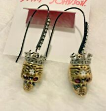 Betsey Johnson Skull Earrings Dangle Rockin Riches Red Rhinestone Eyes S11