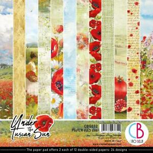 """TUSCAN SUN 6"""" x 6"""" Inch Paper Pack 24 Double-Sided Sheets CIAO BELLA CBQ032 New"""