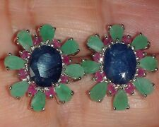 NATURAL SAPPHIRE,EMERALD,RUBY EARRINGS 925 STERLING SILVER, Estate Jewelry