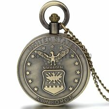 Men's Retro Bronze United States Marine Corps Air Forces Quartz Pocket Watch New