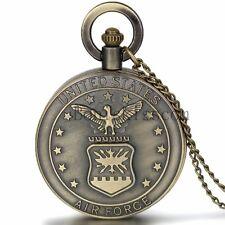 Men's Retro Bronze United States Marine Corps Air Forces Quartz Pocket Watch  New
