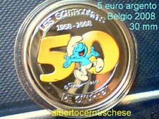 5 euro 2008 color Ag Belgio Belgique Belgium Puffo Smurfen Schtroumpfs Pitufo
