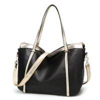 Faux PU leather bag handbag shoulder bag for women ladies Black