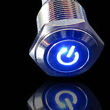 BLUE 19mm Metal Push Button ON/OFF 12v Switch Power Symbol LED Waterproof fu