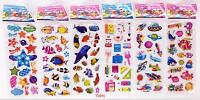 New 6 Sheets Children Paper Crafts Fish Teaching Puffy Stickers Lot Kids Gift Us