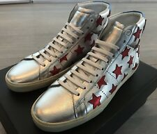 800$ Saint Laurent Silver Leather High Tops Sneakers size US 14, Made in Spain