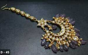 Indian Bollywood Gold Tone Purple Maang Tikka Kundan Jewelry Head Accessory
