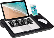 New listing Lap Desk Table Tray Home Office Device Ledge Mouse Pad Phone Holder Black Carbon