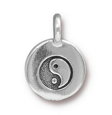 6 Yin Yang Charms Silver Plated Enamel Fun and Colorful E134