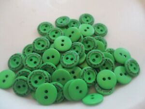 LOT OF 65 GREEN COLOR with FRIEND OF THE HEART 2 HOLE 11/16 INCH BUTTONS, NEW