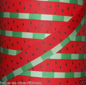 """5 YARDS 7/8"""" SUMMER RED WATERMELON SEEDS RIND GROSGRAIN RIBBON 4 HAIRBOW BOW"""