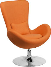 Contemporary Design Orange Fabric Egg Series Reception Lounge Accent Side Chair