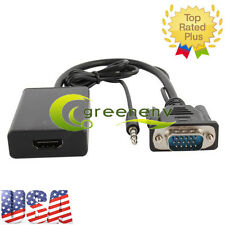 VGA Male To HDMI Output 1080P HD +TV AV HDTV Audio Video Cable Converter Adapter