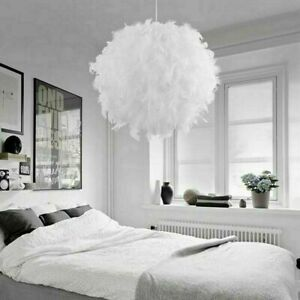 FEATHER CEILING LIGHT SHADE ROUND PENDANT LAMPSHADE SPHERE MODERN STYLE UK