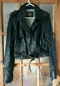 """RIVER ISLAND Brown Real Leather Belted Biker Jacket Size:12 Chest 36"""""""