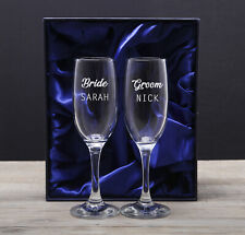 Personalised Bride And Groom Glasses Champagne Flutes Gifts Set Ideas Mr & Mrs