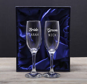 Personalised Champagne Flutes Glasses Engraved Wedding Gifts for Bride and Groom