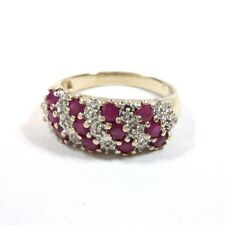 Samuel Aaron 10k Yellow Gold Round Cut Ruby and Diamond Accent Ring - Size 7