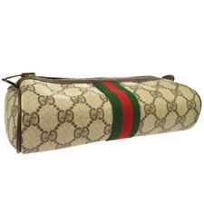 GUCCI PARFUMS Shelly Line GG Clutch Bag Pouch Brown PVC Leather Vintage AK41429