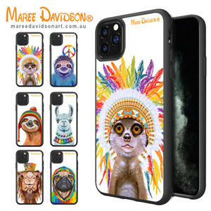 Maree Davidson Art iPhone 12 Pro XS MAX X Happy Animals Print Cases Bumper Cover