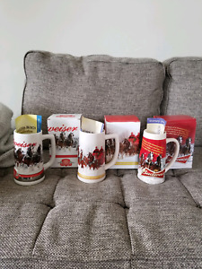 Lot of 3..2011 2013 2013 Budweiser Holiday Steins w/ Certificates