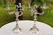 Paire de candélabres chandeliers rocaille de style Louis XV en métal argenté 557