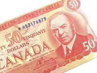 1975 Canada 50 Fifty Dollar Circulated Replacement HB Lawson Bouey Banknote R218