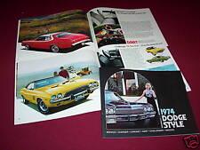 1974 DODGE CHARGER CHALLENGER DART CORONET MONACO 40-Page BROCHURE, CATALOG