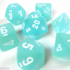 Chessex Dice Polyhedral Frost Teal - Set Of 7  White Numbers 27405 - Free bag!
