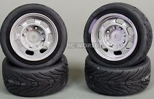 RC Car 1/10 WHEELS Tires SEMI-SLICK 3MM Offset VINTAGE SILVER STEEL   -SET OF 4-