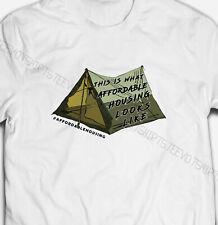Herren oder Damen Protest helfen Obdachlose Zelt 100% Baumwolle s-5xl Größe T-Shirt Tee