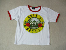 Guns N Roses Concert Shirt Womens Large White Red Ringer Rock Band Crop Top