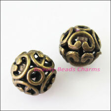 6Pcs Antiqued Bronze Flower Round Ball Spacer Beads Charms 12mm